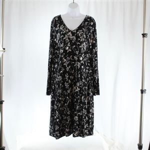 J Jill XL Tall Long Dress Long Sleeve Bl/ White